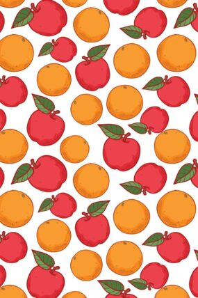KW05  Tea Towel  Orange and Apples