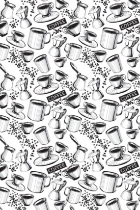 KW07  Tea Towel Coffee white background
