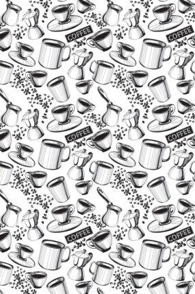 KW07  Tea Towel Coffee white background