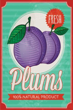 KW13  Tea Towel Plum