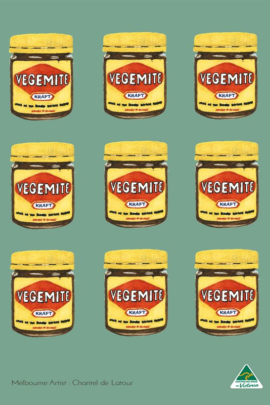 Vegemite x9 Green Tea Towel