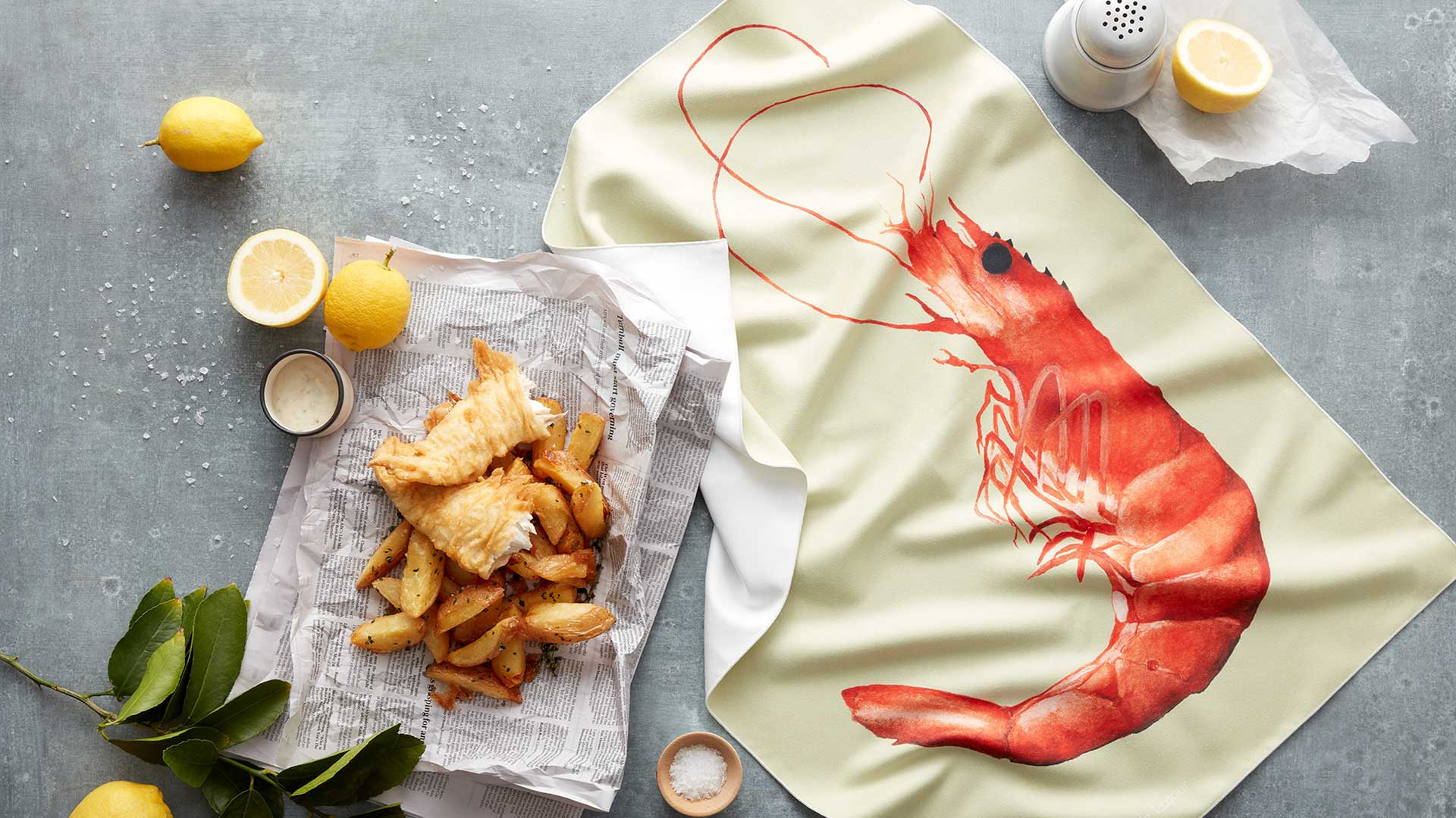 Tea Towel Prawn