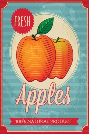 TRAVEL TOWEL VINTAGE APPLE