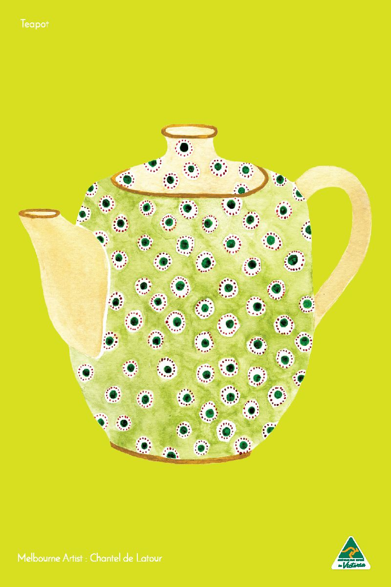 TRAVEL TOWEL TEAPOT LIME