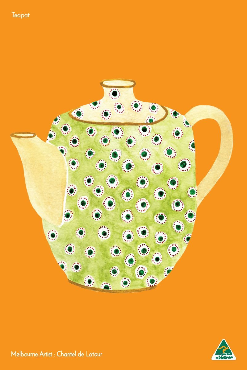 TRAVEL TOWEL TEAPOT ORANGE