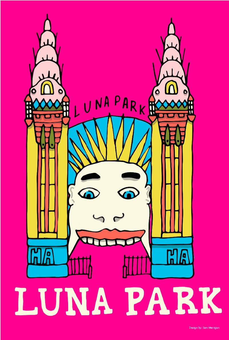 TRAVEL TOWEL LUNA PARK MAGENTA