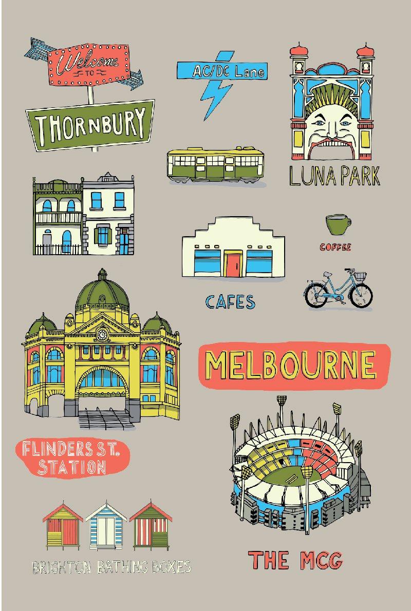 Travel towel melbourne collage ke design gift home for Product design melbourne