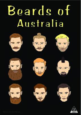 TEA TOWEL - BEARDS OF AUSTRALIA BLACK