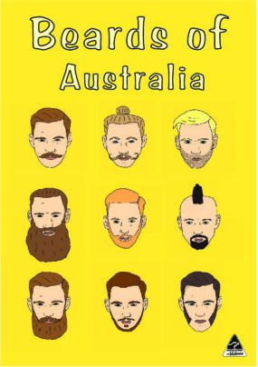TEA TOWEL - BEARDS OF AUSTRALIA YELLOW