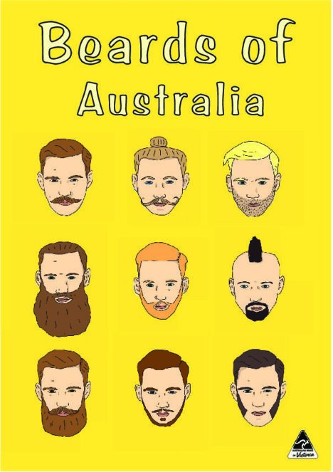 TEA TOWEL - BEARDS OF AUSTRALIA YELLOW