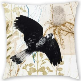 CUSHION COVER - BLACK COCKATOO IN FLIGHT
