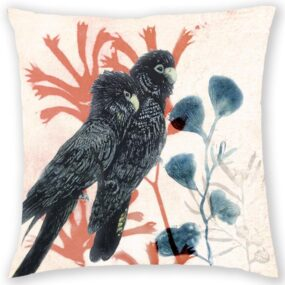 CUSHION COVER - TWIN BLACK COCKATOOS