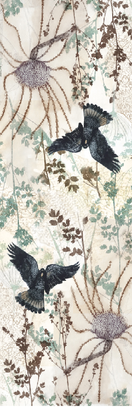 TABLE RUNNER BLACK COCKATOO (STANDARD)
